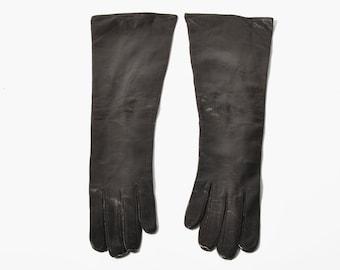 Vintage Long Dark Brown Leather Gloves