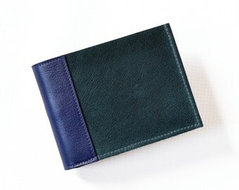 Minimalist Wallet / Leather Wallet for Men / Slim Mens Wallet / Personalized Gift / Bifold Leather Wallet  - The Frankie in Emerald Green