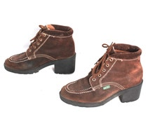 size 7.5 ESPRIT brown leather 80s 90s GRUNGE PLATFORM lace up ankle boots
