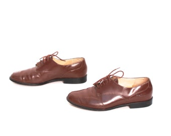 size 7.5 OXFORD brown leather 80s 90s BROGUE MINIMAL minimal ankle boots