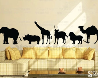 Jungle Wall Decal - Jungle Animals Wall Decal graphics decor - LARGE - K174