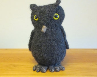 Owl Stuffed Animal. Handmade Plush Toy, knit from gray wool.