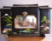 vintage oriental musical jewelry box w/ dancing ballerina