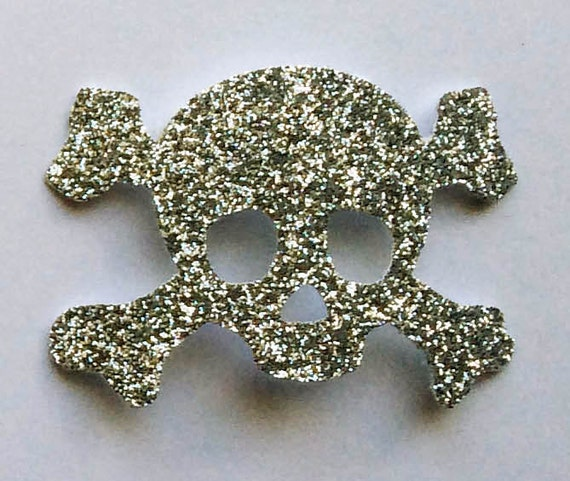 Skull and Crossbones Silver Glitter Die Cut Sticker Embellishments - Nautical Pirate Halloween Sea Theme Art Craft Scrapbook Paper Cardstock