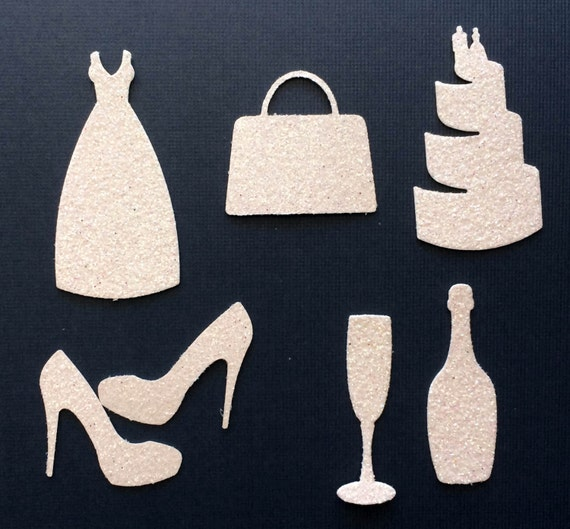 White Glitter Wedding Bridal Die Cut Shapes - Dress Purse Cake Shoes Champagne Bottle and Glass - Art Craft Scrapbook Shower Invitation