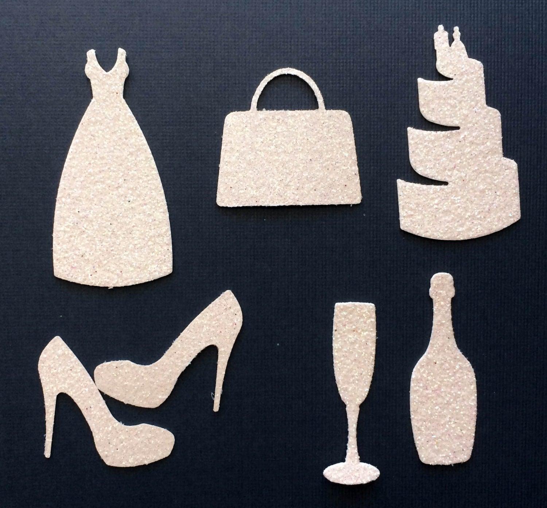 White Glitter Wedding Bridal Die Cut Shapes - Dress Purse Cake ...
