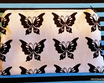Black and White Butterfly Zipper Pouch dice bag #3