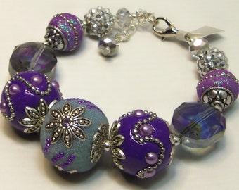 Beautiful Big & Bold Purple Jesse James Beads Bracelet