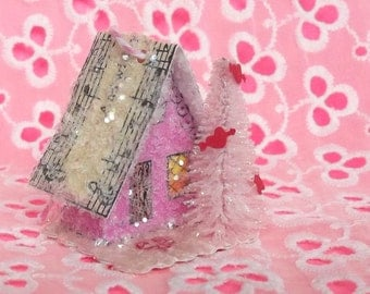 SALE Vintage Putz Style Miniature Candy Pink Valentines Glitter Sugar House with a Pink Tree and Antique Sheet Music Roof  Village Ornament