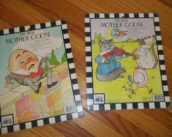 Mother Goose Puzzle Set of 2 Humpty Dumpty and The Cat & The Fiddle Nursery Rhyme Puzzle The Real Mother Goose