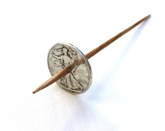 Silver Coin Takhli Support Spindle Walking Lady Supported Spinning of Handspun Lace Yarn or Thread - like Russian or Tibetan or Tahkli