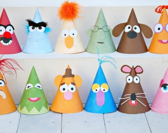 The Vintage Muppet Collection - Custom Party Hats SET of SIX from Mary Had a Little Party