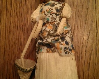 Sweet Little Vintage Corn Husk Doll with an Umbrella
