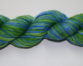 Green Grass and Blue Skies Self Striping Hand Dyed Sock Yarn