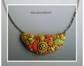 Autumn Pendant Polymer Clay Fall Crescent Necklace
