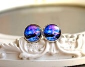 Pretty galaxy earrings  studs silver toned posts space astronomy purple black