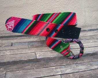 Colorful Peruvian fabric belt / ethnic festival belt / tribal rainbow belt / small