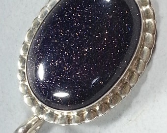 Sparkling Blue Goldstone Pendant with Hand Fabricated Sterling Silver Setting