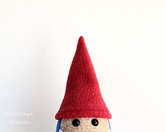 Stuffed Mini Gnome Plushie, Small Plush Garden Gnome in Red and Blue, Cute White Beard, MADE TO ORDER