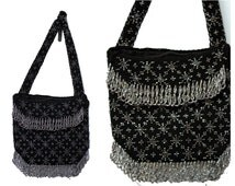 Vintage Beaded Black and Silver Purse - Circa 1920s