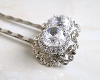 Bridal Hair Clips CZ Halo design Silver Pair