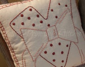 Hand Stitched Valentine Pillow, Hearts, Red, Pink, Heart Stamp Design