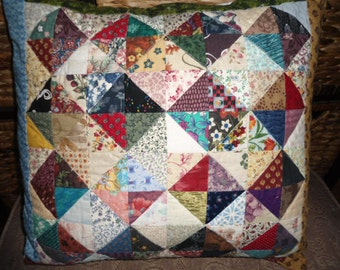 Quilted scrappy half square triangle squares pillow cover