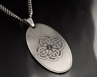 Hand Engraved Stainless Steel Celtic Knot Necklace