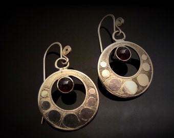 Hand Engraved Art Deco Inspired Garnet And Sterling Silver Earrings