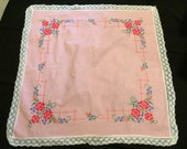 Vintage Pink Cotton Tablecloth/Luncheon Cloth with Hand Embroidery Cross Stitch Flowers and White Lace Trim