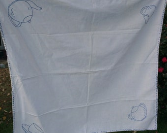 Vintage Blue and White Hand Embroidery Luncheon Cloth with Tea Time Items
