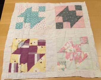 Vintage Hand Quilted Northern Lights Cutter Quilt Piece