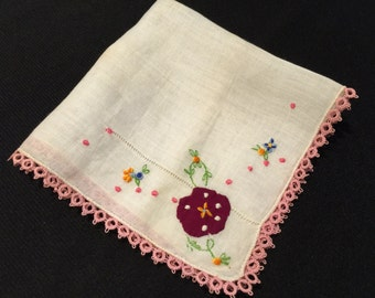 Vintage White Embroidery Flowers Ladies' Hankie/Handkerchief with Pink Tatted Trim