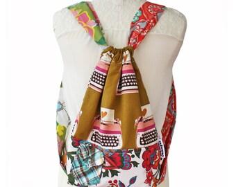 Drawstring Backpack - Festival Backpack - Mama Backpack - Patchwork Backpack