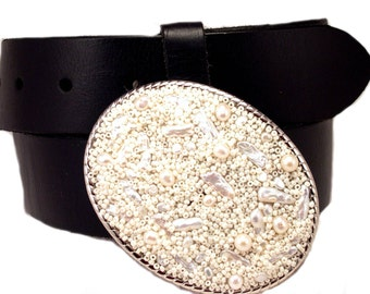 Beaded Belt Buckle  Perfectly Pearlish