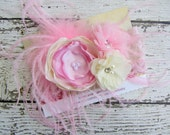 Lace Couture Headband with Pink Cream Pink Satin Chiffon Flowers + Ostrich Feathers