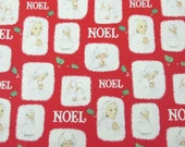 RESERVED FOR RACHAEL Vintage Christmas Wrapping Paper or Gift Wrap with Praying Angels Noel and Holly on Red Background