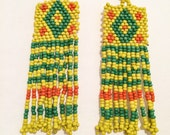 yellow green seed bead navaro mixed ethnic tassel weaved earrings long tribe tribal indian