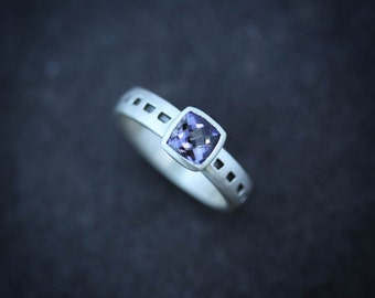Iolite Cushion Cut Gemstone Solitaire in Sterling Silver, Water Sapphire, Midnight Blue, Gemstone Ring, Cushion Shaped