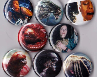8 Aliens Pinback Buttons