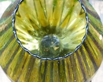 Avocado Green Empoli Art Glass Vase, Shelf Decor, Mid Century Modern Glassware, Swung Glass  Rippled Glass Vase, Goblet, Hand Blown