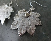 Real Leaf Earrings - Sterling Silver - Full Moon Maple