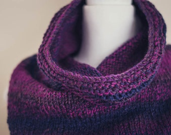 Bandana Cowl Scarf – Hand Knit Bandana Cowl in Shades of Navy Plum Deep Purple -  Fashion Forward Winter Accessories