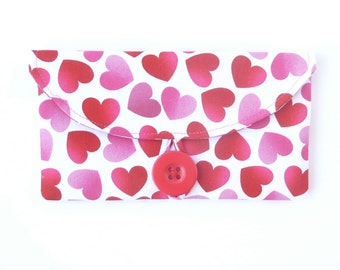 Valentine cash envelope wallet checkbook cover. fabric womens coupon holder case. cute gift idea