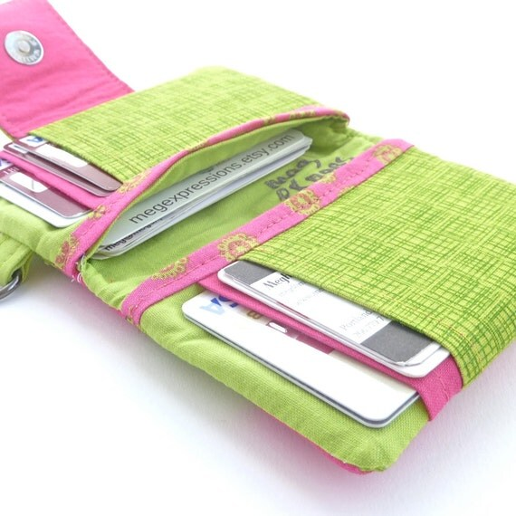 pink green womens wallet. coin purse cash fabric card organizer. ladies cardholder. cute gift idea