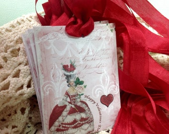 Glittered Set of 6 Valentine Gift Tags, Glittered Valentine, Glitter Cards, Red And Pink Marie  Antoinette - Gift Tags - Greeting Cards