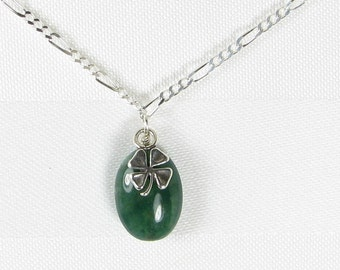 Moss Agate and Sterling Silver Shamrock Pendant Necklace