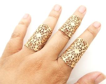 Bohemian gypsy style matte gold filigree ring set