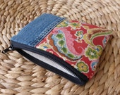 Denim & Paisley Zipper Pouch