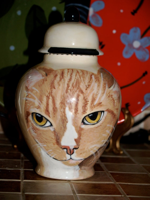 Custom small medium PET URN for dogs and cats SMALL  orange cat kitty or any smaller breed